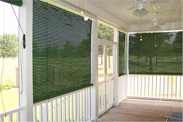 Basswood roll up woven wood shades for porch for Roll up screens for porches