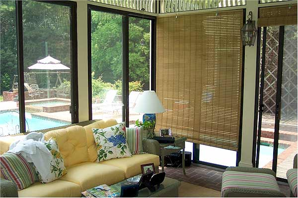 TAN - Basswood Roll Up Woven Wood Shades For Porch